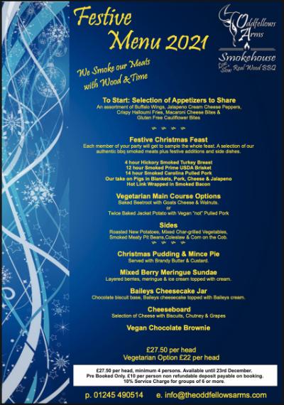 oddfellows christmas menu